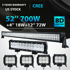 52Inch LED Light Bar Combo + 12in +4 CREE PODS OFFROAD 4WD ATV Jeep Dodge 50