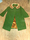 Vintage Union Made Womens Green Wool Coat With Mink Collar