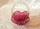 Vintage Murano Cranberry Pink Ruffled Ribbed Art Glass Basket