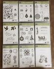 Stampin Up Christmas Halloween Fall Retired Clear  wood Stamp sets