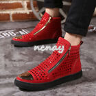 Mens Punk Ankle Boots High Top Sneaker Rhinestones Skateboard Casual Board Shoes