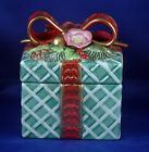 Fitz and Floyd Classics Christmas Wreath Square Candy Box w/Bow/Dogwood Flowers