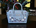 NWT Coach Blake Carryall 25 Leather Floral Applique F59450 MSRP650 Cornflower