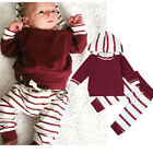 2PCS Toddler Infant Baby Boys Clothes Fall Striped Hooded Tops+Pants Outfits Set
