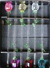 1 12 Glass Spring Rose Flower with Green Leave 6 colors to choose from beauty
