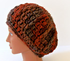 Handmade Textured Ribbed Beanie Terra Cotta Rich Browns Rust Slightly Slouchy