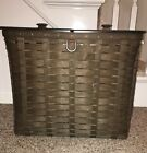 Longaberger Very Rare Deep Brown Sort And Store Recycle Bin Basket With Double..