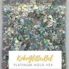 Holographic Silver Platinum Glitter Mix Hex Fine  1 TSP  Acrylic Gel Nail Art