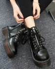 New Women High Top Vintage Ankle Boot Lace Up Chunky Heel Platform Leather Shoes