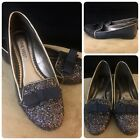 Nine West Girls Sparkle Flat Shoes Size 1M Navy with Purple Sparkles Bow Cute