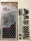 Tim Holtz Psychedelic Grunge Clear Stamps dual Stencil Mixed Media Rays Wire 8pc