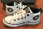 Converse Boys Grade School All Star CT Mid Top White Black Leather Sneakers Sz 1