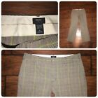 Mossimo gray  lime green plaid stretch dress pants size 8 trousers flare leg
