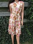 Vtg 60s MOD Space Age Floral Print Scooter Shift Midi Dress Belted Secretary S M