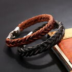 Men Bracelet Leather Fashion Braided Wristband Stainless Steel Clasp Black Brown
