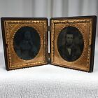 Antique Metal Frame With Photos On Glass Folding Portrait Bronze 1800s Ornate