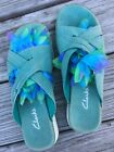 Clarks sandals 9 M Aqua genuine Suede Leather Turquoise
