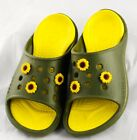 Crocs Slides Dark Green Yellow Lining SZ Women 6 Men 3 w 6 Sunflower Jibbitz