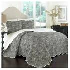 Black Floral Paddock Shawl Quilt Set 3pc - Traditions by Waverly