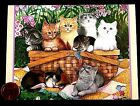 Cute Kittens Cats Picnic Basket Blanket Flowers Butterflies Blank Note Card NEW