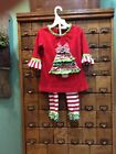 BOUTIQUE RARE EDITIONS SIZE 4 CHRISTMAS TREE OUTFIT PANTS SET RUFFLES
