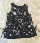 NWT 23 Justice girls size 8 Black space tank top shirt lace up sides World