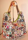 Unbranded Black Leather Multi Color Patent Applique Flowers + Studs Tote MINT