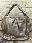 Coach Hobo Purse Leather Pewter Rose Gold Metallic Womens Hand Bag With Dust Bag