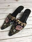 ZALO Womens Size 8 N Heel Embroidery Needlepoint Floral Beading Clogs Black Shoe