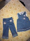 Faded Glory Girl Toddler 18M 3 Piece Jeans Dress Cotton