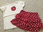 Gymboree Classroom Kitty BTS Apple Tee And Red Polka Dot Skirt Size 7