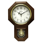 Pendulum Wall Clock Wood Quartz Antique Vintage School House Chime Traditional