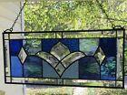 Stained Glass Window Panel Suncatcher w Bevels Blue Tones approx size 19 x 8
