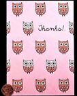Cute Pink Blue Owls Thanks GLITTERED Thank You Blank Greeting Note Card NEW