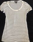 American Dream Black White Striped Casual Fitted Stretchy Tee Sz Large