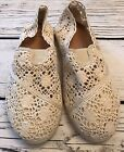 Womans Shoes Flats Ivory Colored Lace Size XL 9 10