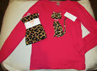 Gymboree Right Meow hot pink kitty top  leopard print leggings NWT 10