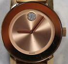 Women's Movado Bold MB 01334689 Rose Gold Tone Stainless Steel Crystal Watch