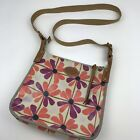 Fossil Floral Print Crossbody Bag Coated Canvas Tan Pink Purple Retro Purse Cool