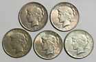 A Lot of 5 Circulated 1 Silver Peace Dollars