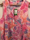LILLY PULITZER Kery Silk Top in Paradise Pink Bohemian Beach Size XL NWT