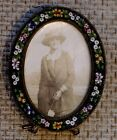 Oval Antique Italian Art Glass Floral Micro Mosaic Picture Frame