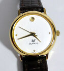 NWT womens 18K gold plated BWC museum dial quartz watch 24mm fresh battery