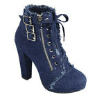 Chic Gift Womens Zip Denim Lace Up Wrapped Chunky Heel Ankle Booties Dark Blue