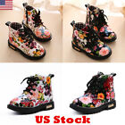 CHILDS KIDS GIRLS FLORAL LOW HEEL FLAT ANKLE LACE UP CHILDREN SHOES BOOTS USA