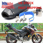 Motorcycle Carbon Fiber Exhaust Muffler Pipe & Removable DB Killer 38-51mm US