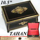 "Antique French TAHAN Marked 10.5"" Jewelry Box, Casket, Serpentine, Boulle Inlay"