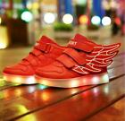 Boys Girls LED Light up USB Charger Sneakers Wings Kids high Shoes BD35