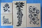 lot 4 PSX FLOWERS FLORAL wood mtd rubber stamps