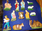 SET OF 13 MADE IN WEST GERMANY US ZONE PAPER MACHE NATIVITY SET COW DONKEY MORE